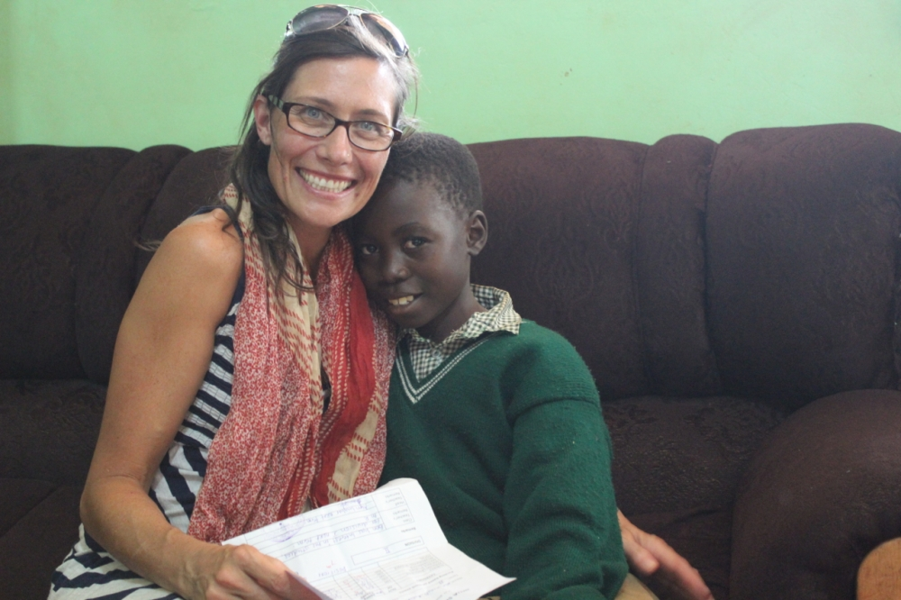 Lyn with the student she has been sponsoring for over a year, Benard
