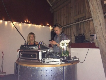 Viktor and Jackie on the music - love the orchid by the DJ stand - so very Swedish
